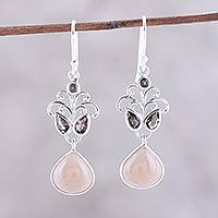 Moonstone and smoky quartz dangle earrings, 'Evening Delight' - Moonstone and Smoky Quartz Dangle Earrings from India