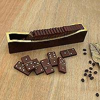 Wood and brass domino set, 'Classic Entertainment' - Beech Wood Classic Domino Set with Mango Wood Holder