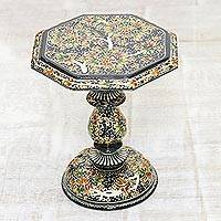 Wood decorative pedestal, 'Elegant Chinar' - Indian Wood Pedestal with Black and Gold Chinar Leaves