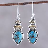Citrine dangle earrings, 'Gemstone Allure' - Citrine and Composite Turquoise Dangle Earrings from India