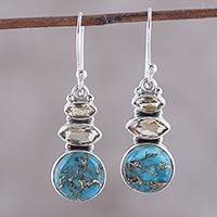 Citrine dangle earrings, 'Peaceful Dazzle' - Citrine and Composite Turquoise Dangle Earrings from India