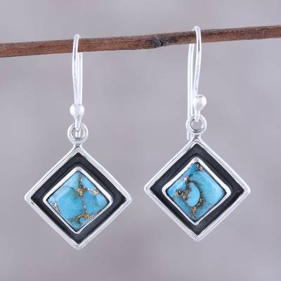 Sterling silver dangle earrings, 'Chic Kites in Blue' - Sterling Silver and Blue Composite Turquoise Dangle Earrings