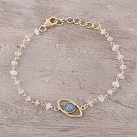 Gold plated labradorite and rose quartz pendant bracelet, 'All Eyes on You' - Gold Plated Labradorite and Rose Quartz Pendant Bracelet