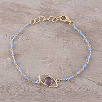 Gold plated amethyst and chalcedony pendant bracelet, 'All Eyes on You' - Gold Plated Amethyst and Chalcedony Pendant Bracelet