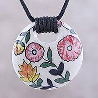 Ceramic pendant necklace, 'Bouquet Toss' - Pink Yellow Orange Floral Motif Ceramic Pendant Necklace