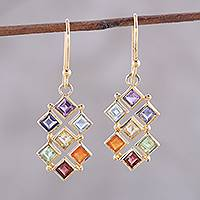Featured review for Gold plated multi-gemstone dangle earrings, Wellness