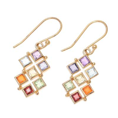 Gold plated multi-gemstone dangle earrings, 'Wellness' - Gold-Plated Multi-Gemstone Chakra Earrings from India