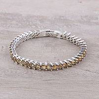 Citrine tennis-style bracelet, 'Eternity Sunshine' - Citrine and Sterling Silver Tennis-Style Bracelet from India