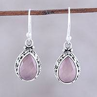 Chalcedony dangle earrings, 'Soft Pink Mist' - Teardrop Chalcedony Dangle Earrings in Pink from India