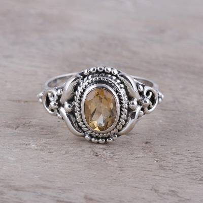 Citrine cocktail ring, 'Traditional Romantic' - Traditional Citrine Cocktail Ring from India