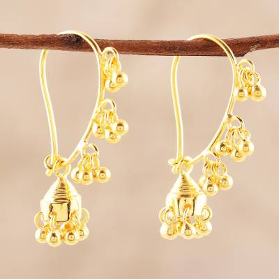 Gold plated sterling silver chandelier earrings, 'Golden Music' - 22k Gold Plated Sterling Silver Chandelier Earrings