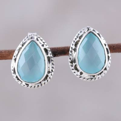 Chalcedony stud earrings, Sky Mist