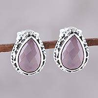 Chalcedony stud earrings, 'Soft Pink Mist' - Soft Pink Chalcedony Teardrop Stud Earrings from India
