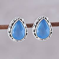 Chalcedony stud earrings, 'Blue Mist' - Blue Chalcedony Teardrop Stud Earrings from India
