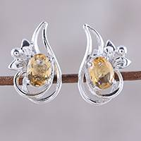 Rhodium plated citrine button earrings, 'Classic Paisley' - Rhodium Plated Citrine Paisley Button Earrings from India