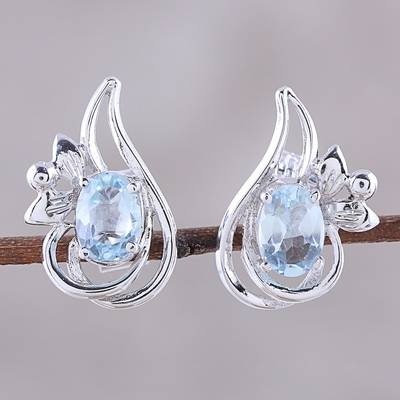 Rhodium plated blue topaz button earrings, 'Classic Paisley' - Rhodium Plated Blue Topaz Paisley Button Earrings from India