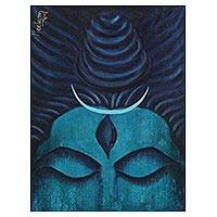 'Shiva' - Signed Hindu Painting of Shiva in Blue