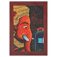 'Pious Ganesha' - Signed Expressionist Painting of Ganesha from India