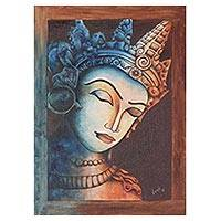 'The Peaceful Siddhartha' - Signed Expressionist Painting of Buddha from India