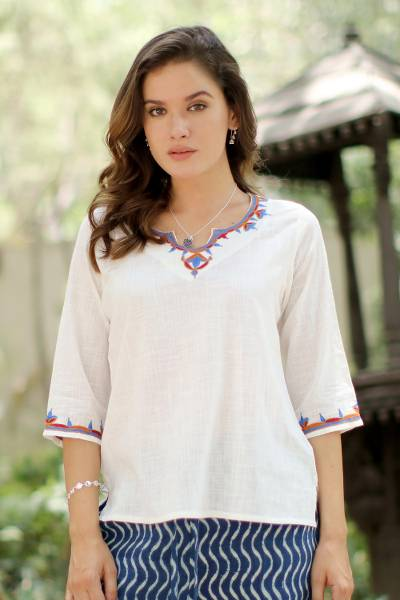 Cotton tunic, 'Desert Flowers' - Embroidered Cotton Tunic in Snow White from India