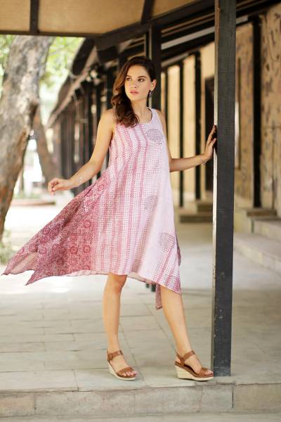 Block-printed cotton sundress, Spiced Wine