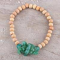 Beaded wood and agate stretch bracelet, 'Natural Mystery in Green' - Wood and Green Agate Beaded Stretch Style Bracelet