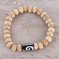Buffalo bone beaded stretch bracelet, 'Modern Contours' - Hand Carved Buffalo Bone Bead Bracelet