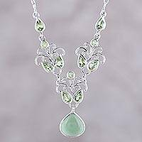 Peridot and serpentine statement necklace, 'Evening Delight' - Sterling Silver Peridot and Serpentine Statement Necklace