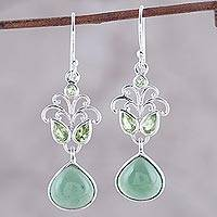 Peridot and serpentine dangle earrings, 'Evening Delight' - Sterling Silver Peridot and Serpentine Dangle Earrings