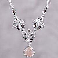 Moonstone and smoky quartz statement necklace, 'Evening Delight' - Moonstone Smoky Quartz Sterling Silver Statement Necklace