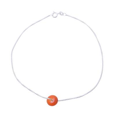 Natural Carnelian Pendant Anklet from India