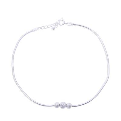 Sterling Silver Anklet Crafted in India