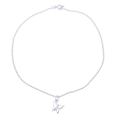 Sterling Silver Butterfly Anklet from India