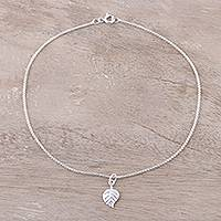 Sterling silver chain anklet, 'Verdant Shine' - Sterling Silver Leaf Anklet from India