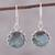 Labradorite dangle earrings, 'Evening Bloom' - Round Sterling Silver and Labradorite Dangle Earrings thumbail