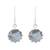 Labradorite dangle earrings, 'Evening Bloom' - Round Sterling Silver and Labradorite Dangle Earrings (image 2a) thumbail
