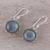 Labradorite dangle earrings, 'Evening Bloom' - Round Sterling Silver and Labradorite Dangle Earrings (image 2b) thumbail