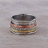 Copper and brass accented sterling silver spinner ring, 'Spinning Trio' - Handcrafted Sterling Silver Copper and Brass Meditation Ring