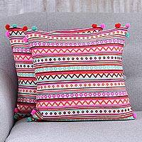 Cotton blend cushion covers, 'Bubbly Allure' - Bright Cotton Blend Cushion Covers from India (Pair)