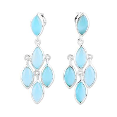Aqua Chalcedony Chandelier Earrings from India