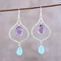 Amethyst and chalcedony dangle earrings,