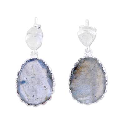 Labradorite and Sterling Silver Dangle Earrings from India