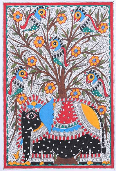 Signed Madhubani Folk Art Acrylic Elephant Painting