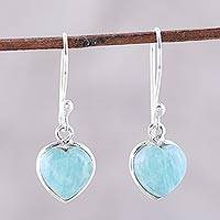 Amazonite dangle earrings, 'Sweet Adoration' - Heart Shaped Amazonite Dangle Earrings from India