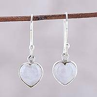 Rainbow moonstone dangle earrings, 'Sweet Adoration' - Heart Shaped Rainbow Moonstone Dangle Earrings from India