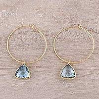 Gold plated blue topaz dangle hoop earrings, 'Elegant Embrace' - 18k Gold Plated Blue Topaz Hoop Dangle Earrings from India