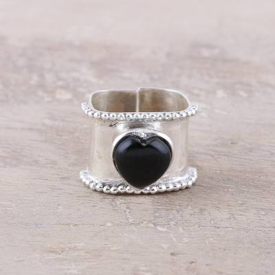 Onyx wrap ring, 'Romance Beckons' - Heart-Shaped Onyx and Sterling Silver Wrap Ring from India