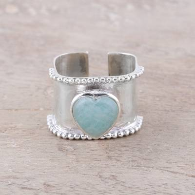 Amazonite wrap ring, 'Romance Beckons' - Heart-Shaped Amazonite and Sterling Silver Wrap Ring India