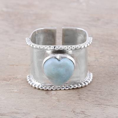 Larimar wrap ring, 'Romance Beckons' - Romantic Heart-Shaped Larimar and Sterling Silver Wrap Ring