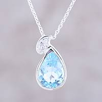 Blue topaz pendant necklace, 'Azure Tear' - Sterling Silver and Blue Topaz Tear Drop Pendant Necklace